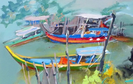 harbour,-92x122,oil,canvas,Malaysia,Nature