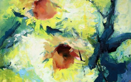 sunflowers,100x120,oil,canvas,2012,Latvia,Nature