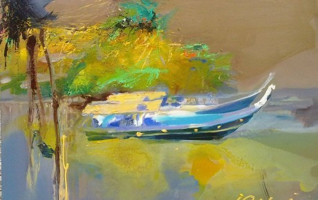 blue-boat,-92x122,oil,canvas,2012,Malaysia,Nature