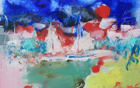 boats-at-Sumartin-harbour,90x120,oil,canvas,2011,Croatia,AP