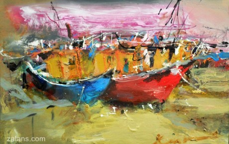 boats-at-harbour-80x120,oil,canvas,2012,Malaysia,Nature