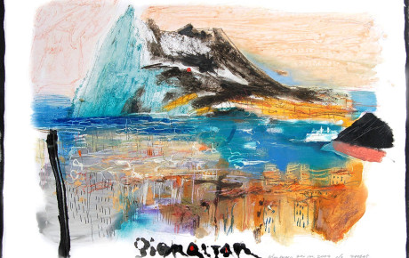 gibraltar,70x100,oil,paper,2009,Latvia,Nature
