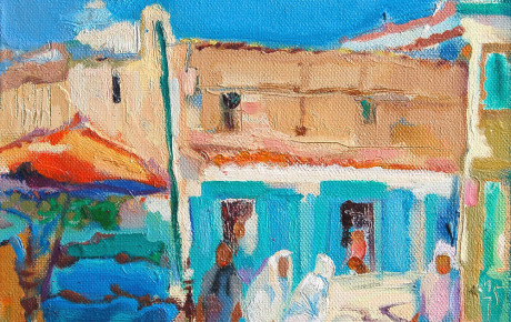 morrocco-street-scene,30x50,oil,canvas,2005,Morocco,Nature